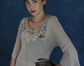 Nude vintage lace dress / semi sheer cotton knit mesh sexy party gown /  boho hippie Victorian revival