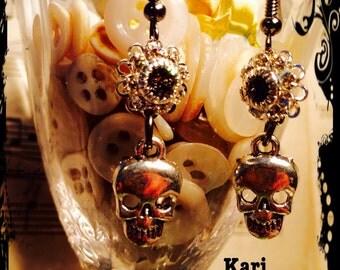 Skeleton, earrings, Swarovski crystal,  silver skulls, dangly floral, earrings. By: Kari Wolf Designs