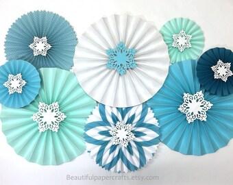8pc Aqua Snowflake Rosettes | Winter Paper Fans | Pinwheel Backdrop | Ice Theme Paper Fans | White Glitter Snowflakes | Winter Wonderland