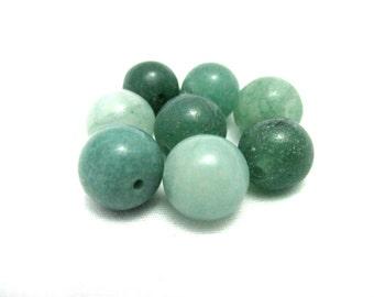 Green Aventurine Dark Gemstone Beads - 10mm Round - 8pcs - Loose Gemstone Beads - Beads for Jewelry Making