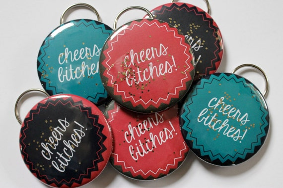 Cheers Bitches Bottle Openers Key Chains Glitter Bachelorette Party Favor Under 10