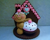 Gingerbread Man - Cupcake - Polymer Clay - Holiday Figurine