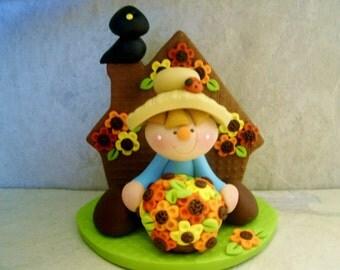 Scarecrow - Crow - Autumn Flowers - Polymer Clay - Figurine