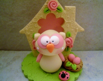 Whimsical Owl - Nest - Birdhouse - Mother's Day - Polymer Clay - Figurine