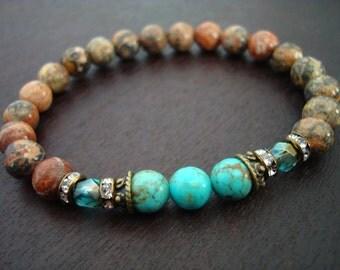 Women's Arizona Turquoise Mala Bracelet // Turquoise & Healing jasper Mala Bracelet // Yoga, Buddhist, Meditation, Jewelry