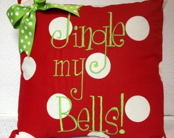Christmas embroidered pillow cover Jingle my Bells