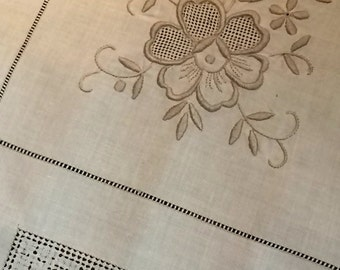 "Vintage embroidered tablecloth 36"" square"
