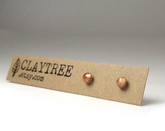 COPPER Stud Earrings - Simple Bronze Studs - Hypoallergenic Post Earrings - Surgical Steel - Tiny Dot Earrings - Resin - 3mm - Minimalist