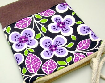 Cell phone bag / Smart phone bag / Shoulder purse / Crossbody bag ~ White and purple flowers (D-11)