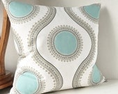 "Pillows, Mint Green Aqua Spa Blue, Grey Large Circles, White, Pillow Cover, Light Blue Pillow Throw, Floral Pattern, Modern 20"" x 20"""