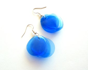 Cobalt earrings made of recycled plastic bottle navy blue earrings upcycled jewelry sapphire earrings repurposed jewelry recycled earrings