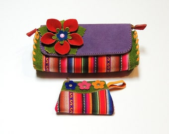 Set Hobo Peruvian Handmade Multi-color Genuine Suede Leather Women's Clutch and Coin Bag