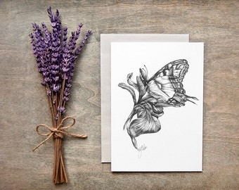 Flower Greeting Card Stationery Black and White Blank Note Card Butterfly Iris Art Print Pencil Drawing Botanical Art Snail Mail