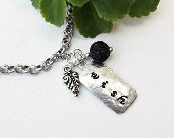Wish Stamped Bracele,t Silver Bracelet, Stamped Jewelry, Inspirational, Chain Bracelet, Black Bead Bracele,t Beaded Jewelry, Stamped Metal