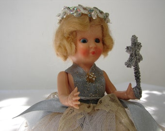 Vintage tree topper doll c.1950 Rosebud Christmas fairy doll 6.5 ''blue sleep eyes-blonde hair