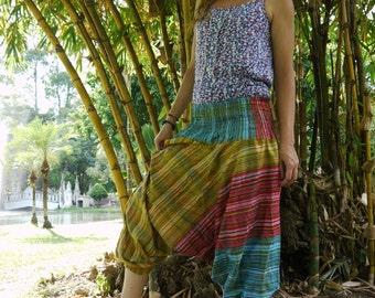 Thai Harem Pants in Cotton, Blue, Yellow, Red Stripe Thai Pattern Design -Men & Women by Amonchai