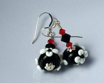 Black and White Lampwork Glass Earrings