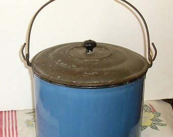 Vintage Blue Berry Pail  Granite Ware  Enamelware  Lunch Bucket with Bail Handle