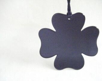 Vintage Black Shamrock Necklace Retro 1990s Plastic Rave Long Cord Pendant Four Leaf Clover