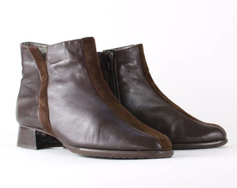 Vintage Womens Boots >> 1990s 90s Brown Zip Leather Ankle Boots >> UK 4.5 / EU 37.5 / US 6.5