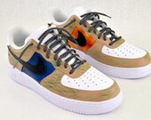 US Military Custom Hand Painted Nike Air Force 1 Sneakers - Army & Marines Theme