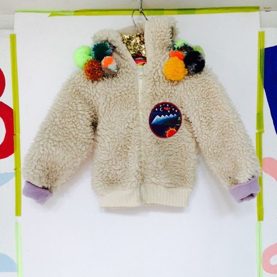 SHOW 2-3 Years Kids Jacket Coat Cardigan Hoody Hoodie with Appliqué Patch Pom Pom trim in Upcycled Acrylic Unisex