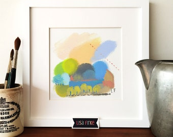 Early autumn abstract landscape art print