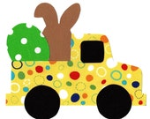 Iron on truck, bunny and egg Easter fabric applique DIY