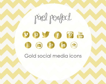 Textured GOLD Social Media Icons