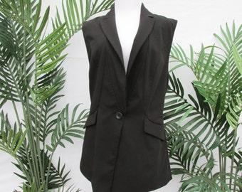 Worthington vest , black vintage vest , steampunk jacket , sleeveless jacket , goth vest , size medium womens , long vest , quality vintage