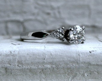 Classic Vintage Platinum Diamond Engagement Ring - 0.73ct.