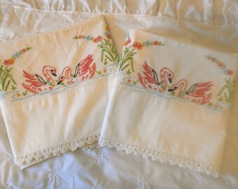 Vintage Embroidered and Crochet Pillowcases with Pink Swans Set of 2