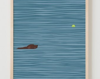 Fine Art Print.  Dog Swimming with Tennis Ball.  March 6, 2014.