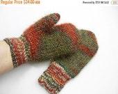 Hand Knitted Mittens - Dark Green and Brown, Size Medium