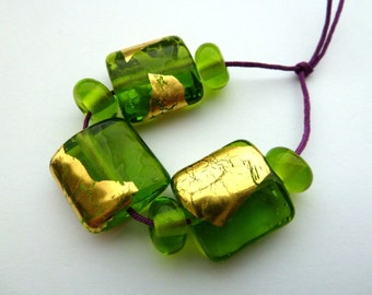 handmade green and gold leaf lampwork glass beads UK set