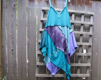 Aqua Purple Tie Dye Pixie Tunic Dress Lagenlook Upcycled/ Funky Asymmetrical Eco Dress/ Hi Lo Womens Dresses Size L/XL Plus Size