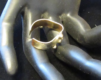 Unusual Handmade Brass and Sterling Silver Ring