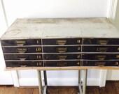 12 Drawer Vintage Industrial Metal Cabinet