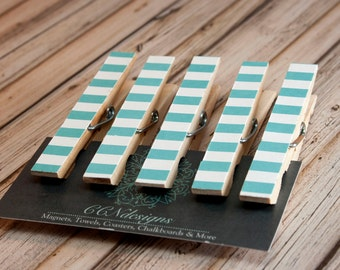 Aqua Blue Clothespin Magnets, Set of 5