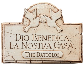 Italian God Bless Our Home Personalized with a Name or Address