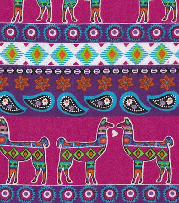 Snuggle Flannel Prints Aztec Llama Sold By The Yard