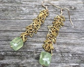 Faceted prehnite celery green and brass triangle chain earrings