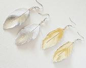 Feather Earrings, Earrings, Lambskin, Leather Earrings, leather Feather Earrings, Gold Earrings, Silver Earrings, Bohemian Earrings, 2 inch