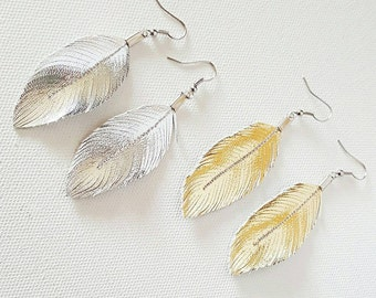 SMALL SIZE Lambskin Leather Feather Earrings, Gold, Silver, Rose Gold, Earrings, leather Feather Earrings, , Bohemian Earrings,