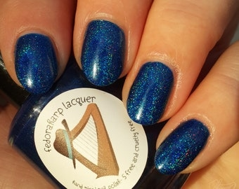 Mystique (mini size & full size)- Blue holographic indie polish by Fedoraharp Lacquer