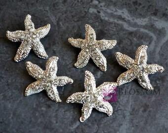 Metal Rhinestone Starfish Buttons Crystal Clear with Loop 26mm - Flower Centers - Wedding Bridal Prom - Star Fish Bling Beach Wedding Jewel
