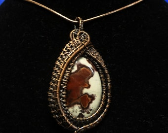 Bear in the Woods Picture Jasper Wire Wrapped and Woven Pendant
