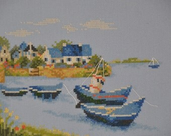 Finished completed Cross stitch -Lanarte - Set of Blue Boats ( 34764 ) - crossstitch counted cross stitch