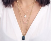 ON SALE gold gem stones layered necklace - delicate layering necklace
