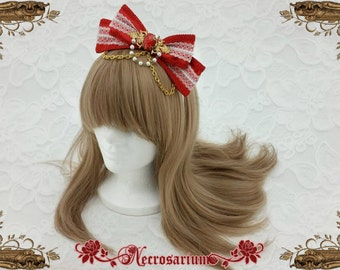 Red and White Bow A0916